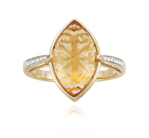 10k Yellow Gold Marquise Citrine Diamond Ring (0.05 cttw, I-J Color, I2-I3 Clarity), Size 7