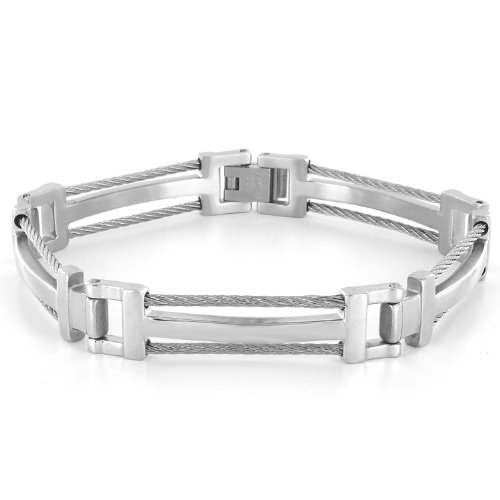 Clearance! Stainless Steel Polished Cables Men's Bracelet