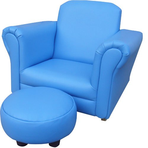 Childrens/Kids Blue Rocker Armchair - Chair And Foot Stool