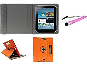 Gadget Decor (TM) PU LEATHER Rotating 360° Flip Case Cover With Stand For Bsnl Penta WS707C EDGE CALLING TABLET  + Stylus Capacitive Pen -Orange