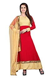 BanoRani Beige & Red Color Faux Georgette Full length Anarkali With Chicken Embroidery, Zari & Lace Work Unstitched Salwar Suit Dress Material