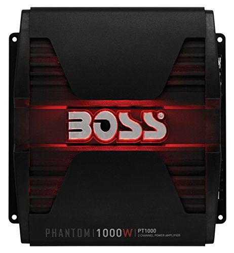 BOSS AUDIO PT1000 Phantom 1000-Watt Full Range, Class A/B 2 to 8 Ohm Stable 2 Channel Amplifier with Remote Subwoofer Level Control (1000 Watts Car Stereo compare prices)