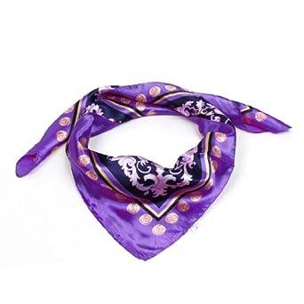 Spring Fall Purple Tassels Pattern Kerchief Neck Scarf Shawl for Lady