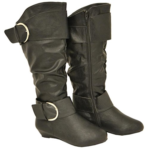 Twisted Faux Leather Wide Width Wide Calf Slouchy Casual Knee High Large Buckle Boot
