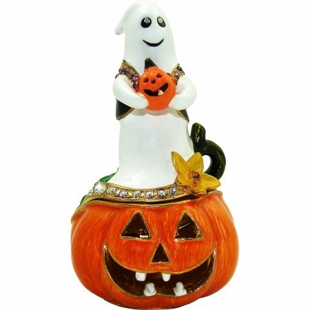 Ghost on Jack o' Lantern Halloween Trinket Box
