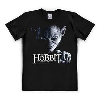 T-Shirt The Hobbit - Gollum - An Unexpected Journey - Sméagol - Rundhals Shirt von LOGOSHIRT - schwarz - Lizenziertes Originaldesign, Größe 3XL