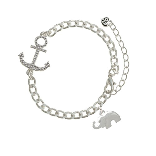Silver Elephant with Crystal Eyes Silver Crystal Anchor Bracelet