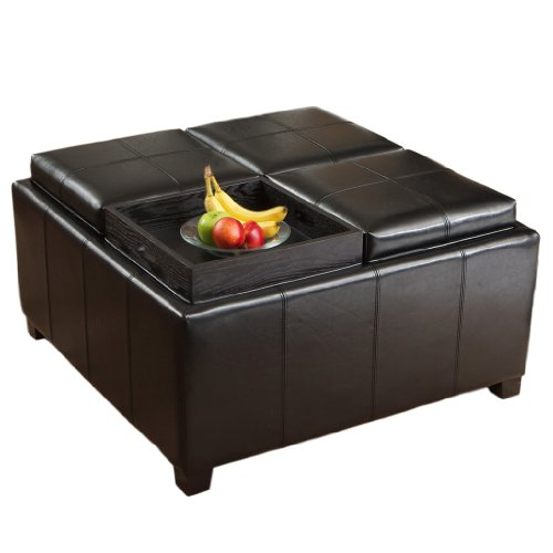 Durango Four Sectioned Black Leather Cube Storage Ottoman