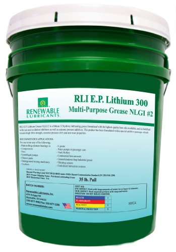 Renewable Lubricants Ep 300 Lithium Nlgi 2 Multipurpose Grease, 35 Lbs Pail