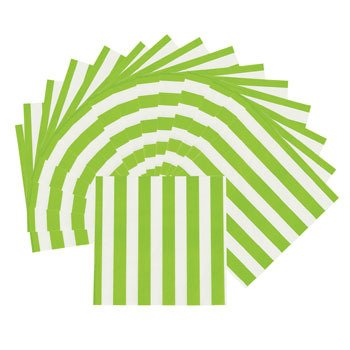 Lime Green Striped Beverage Napkins - Easter & Party Supplies - 1