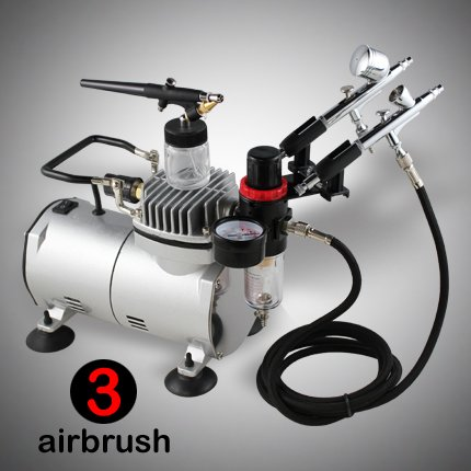 3 Airbrush Kit w/ PRO Air Compressor, Filter, 6'ft Hose, Brush Holder, Dual-Action Spray Set