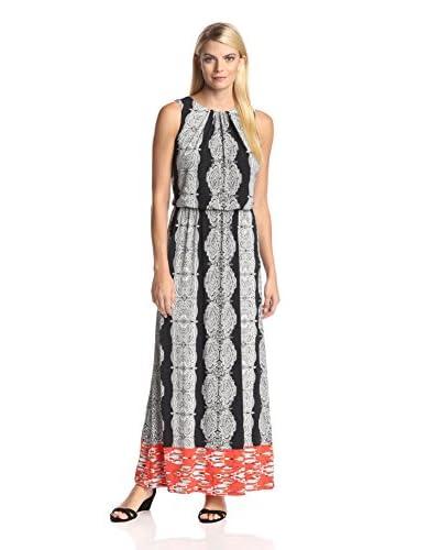 London Times Women's Blouson Maxi Dress