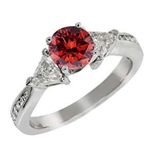 3.63 Ct Round Cognac Red and G/H Diamond 925 Sterling Silver Engagement Ring