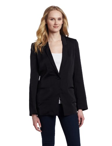 AK Anne Klein Women's Washed Satin Button Front Blazer