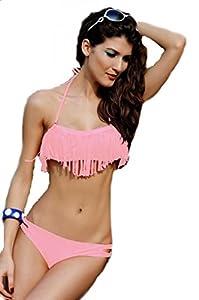 EOZY 1X Bikini à Frange Push Up 2 Pièces PR Femme Strappy Rose Taille INT.S