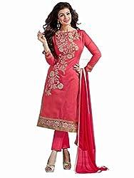 Shreenath Creation Women's Chanderi Cotton Long Salwar Suit Dress Material (Dreamgirl051_Gajri)