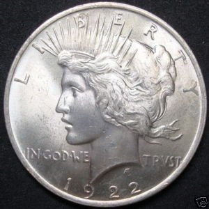 1922-p Silver Peace Dollar From Roll