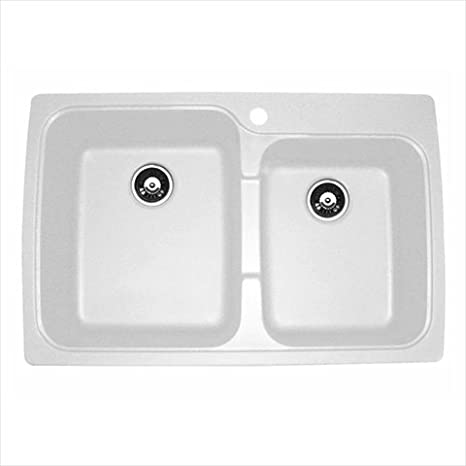 Astracast US20RWUSSK Offset Double Bowl Kitchen Sink, White
