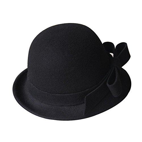 Couleur-unie-simple-vintage-laine-chapeau-melon-Billycock-avec-bowknot-noir