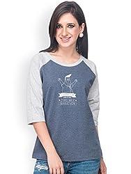 Campus Sutra Blue Quarter sleeves T-Shirts Zero (SS15SOL_RGQS_W_ZER_BUGR_XL)