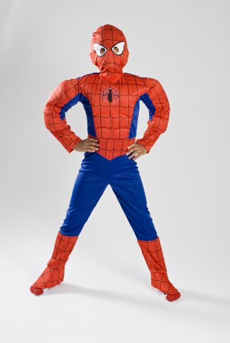 Spiderman Halloween Costume with Muscle and Light up Fiber Optic for Kids Boys/girls