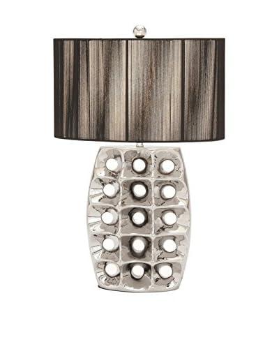 Shiny Ceramic Table Lamp, Silver