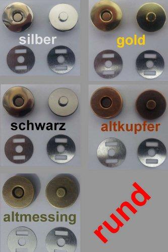 Magnetverschluss, Magnetknöpfe 14 mm Durchmesser, rund, 10 Stück / Farbe: #06 gold