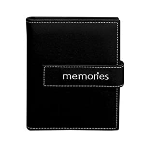 "Pioneer Expressions Series Bound Mini Photo Album, Covers with Magnetic Closure Strap, Holds 36 4x6"" Photos, 1 Per Page. Color: Black ""Memories""."