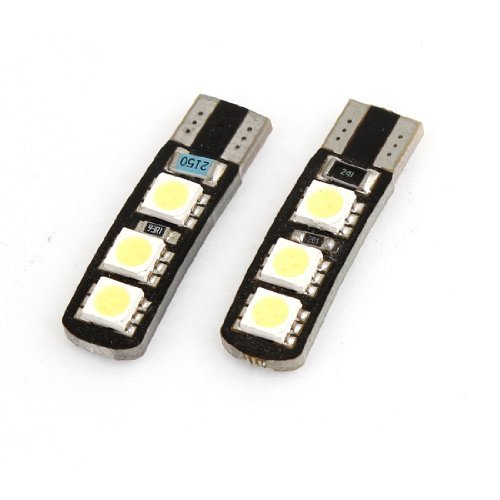 4Pcs T10 White 5-5630-SMD LED Panel Light Dashboard Lamp Bulb for Car Interior
