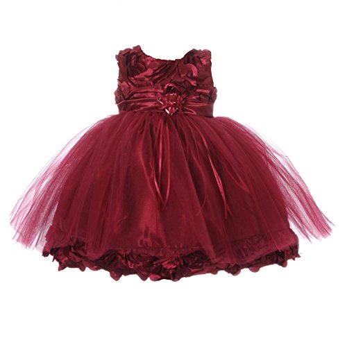 NancyAugust Blossom Flower Satin Infant Girl Birthday Dress S-XL (L (18 Mos), Burgundy)