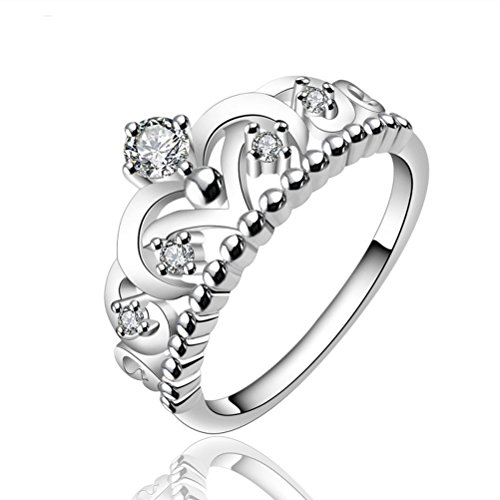 SunIfSnow Womens US and European Style High-grade Full Diamond Crown Rings 7