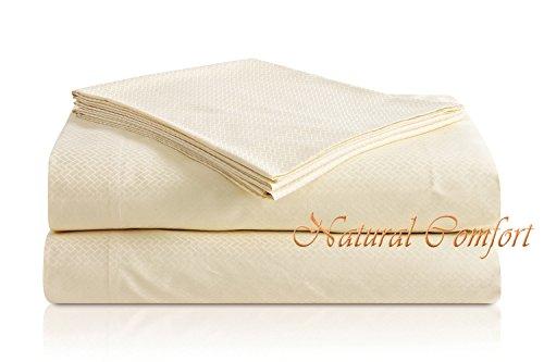 Natural Comfort Premier Hotel Select Sheet Set, King, Cream/Lattice front-592425