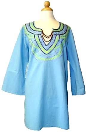 Cool and Breathable Womens Exotic Necklace Tunic/Beach Cover up-Small to Plus Size (ML)