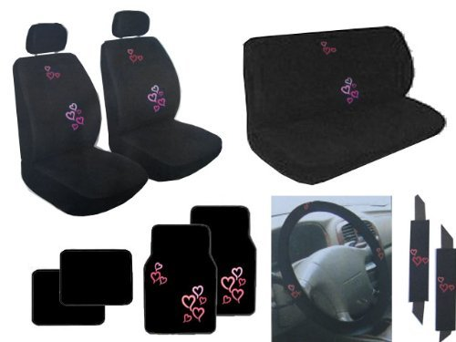 15 Piece Auto Interior Gift Set - 2 Multicolor Red and Pink Hearts Front Low Back Bucket Seat Covers, 2 Multicolor Red and Pink Hearts Head Rest Covers, 1 Multicolor Red and Pink Hearts bench seat Cover, 1 Multicolor Red and Pink Hearts Steering Wheel Cover, 2 Multicolor Red and Pink Hearts Shoulder Harness Pressure Relief Cover, 2 Multicolor Red and Pink Hearts Front Floor Mats, and 2 Plain Black Rear Floor Mats