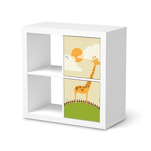 Klebefolie-Sticker-Aufkleber-fr-IKEA-Kallax-Regal-2-Trelemente-Hochformat-Mbel-berkleben-Verschnerung-Mbeldeko-Modernes-Wohnen-Wohnzimmer-Dekoration-Dekor-Design-Motiv-Mountain-Giraffe