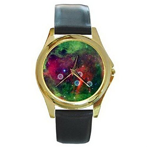 Cdg641 Rosette Nebula From Space Telescope Gold Watch Black Leather