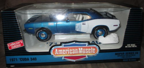 1971 Blue Plymouth 340 'Cuda Barracuda - Ertl American Muscle 1/18 Die-Cast Toy Car front-833895