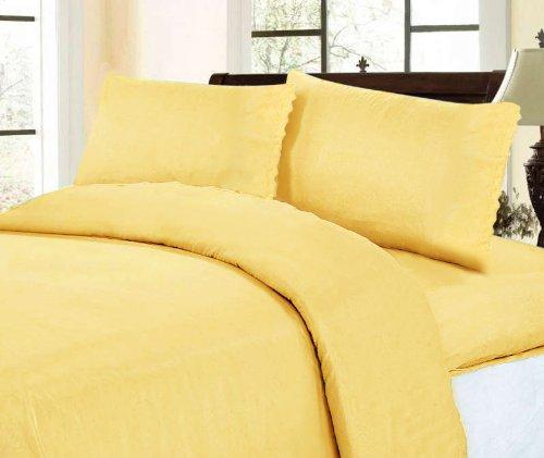 Elegant  Sheets Set Peach Eyelet Thread Count Sheet Set Yellow