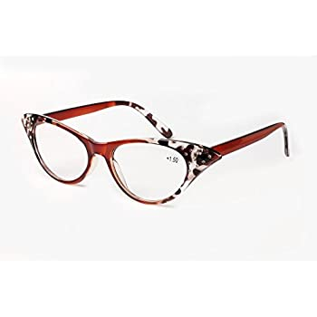 SOOLALA Womens Fashion Designer Rhinestone Cat Eye Magnifying Reading Glasses