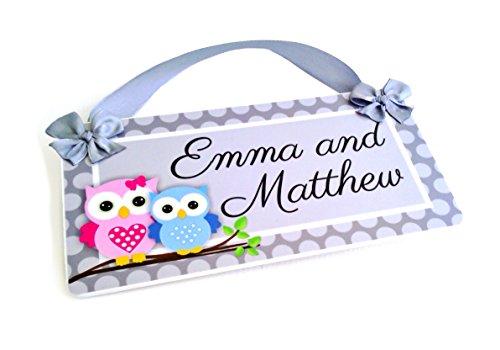 Emma And Matthew Owls Baby Boy And Girl Door Name Kids Personalized Bedroom Plaque- Custom Name Room Door Sign - Children'S Bedroom Name front-164231