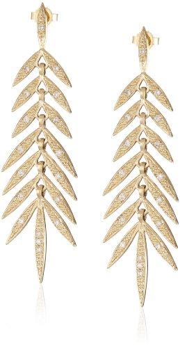 Mizuki 14Kt Post Long Link Small Diamond Earrings