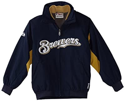 MLB Milwaukee Brewers Triple Peak Premier Jacket,Navy/Gold/white