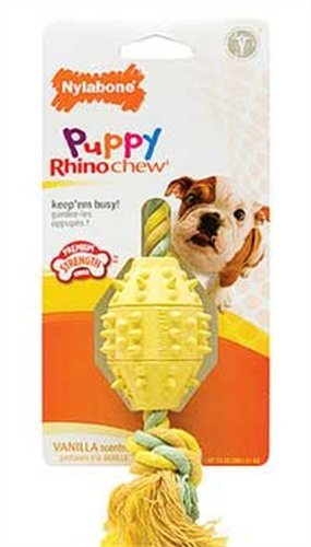 Nylabone Rhino Puppy Teethe n' Tug Chew Toy, Regular