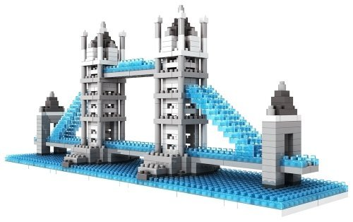Micro Blocks - British Tower Bridge Model - Small Building Block Set - Nanoblocks Compatible - Not Lego Compatible