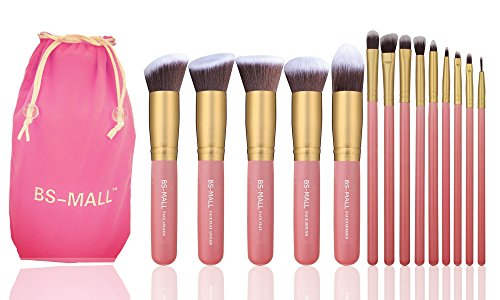 BS-MALL New 14 Pcs Makeup Brushes Premium Synthetic Kabuki Makeup Brush Set Cosmetics Foundation Blending Blush Eyeliner Face Powder Brush Makeup Brush Kit(golden Pink) (Kabuki Brushes compare prices)
