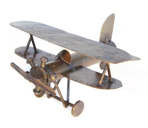 Recycled Tin Plane Large model made from Spark Plugs - Fair trade from Mexico