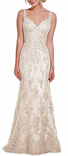 buy Lava-Ring Women'S Straps Sleeveless Rhinestones Lace Applique Long Wedding Dress White Us14