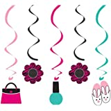 Creative Converting Pink Zebra Boutique Assorted Dizzy Danglers Hanging Party Decorations, 5-Piece Per Package