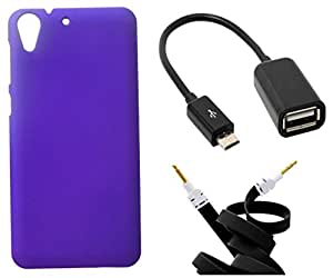 XUWAP Hard Case Cover With OTG Cable & Aux Cable For HTC Desire 728 - Purple