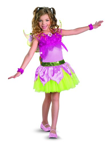 Winx Club Flora Deluxe Costume, Pink/Lime Green, Small